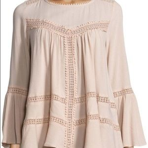 Cirana pink blush boho peasant blouse size L